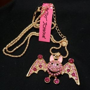 NWT Crystal girl bat necklace by Betsey Johnson